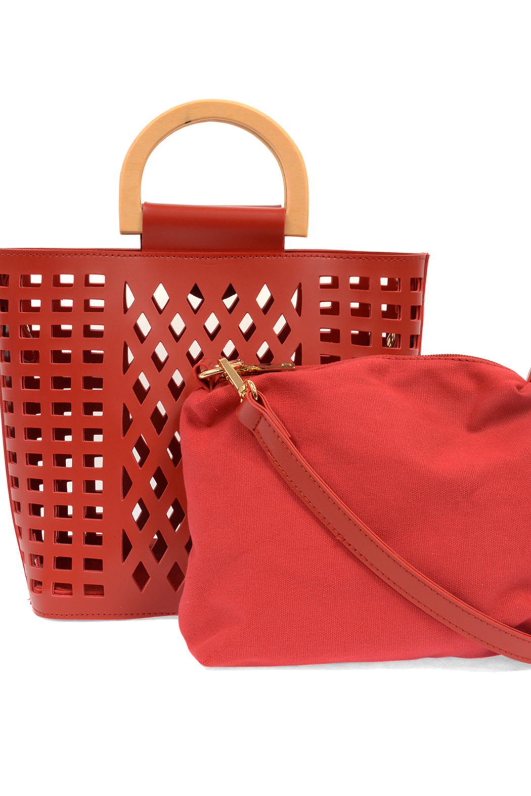 Joy Susan  Red Madison Cut Out Tote - Back Cropped Image