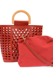 Joy Susan  Red Madison Cut Out Tote - Back cropped