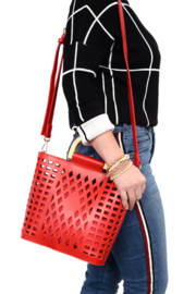 Joy Susan  Red Madison Cut Out Tote - Product Mini Image