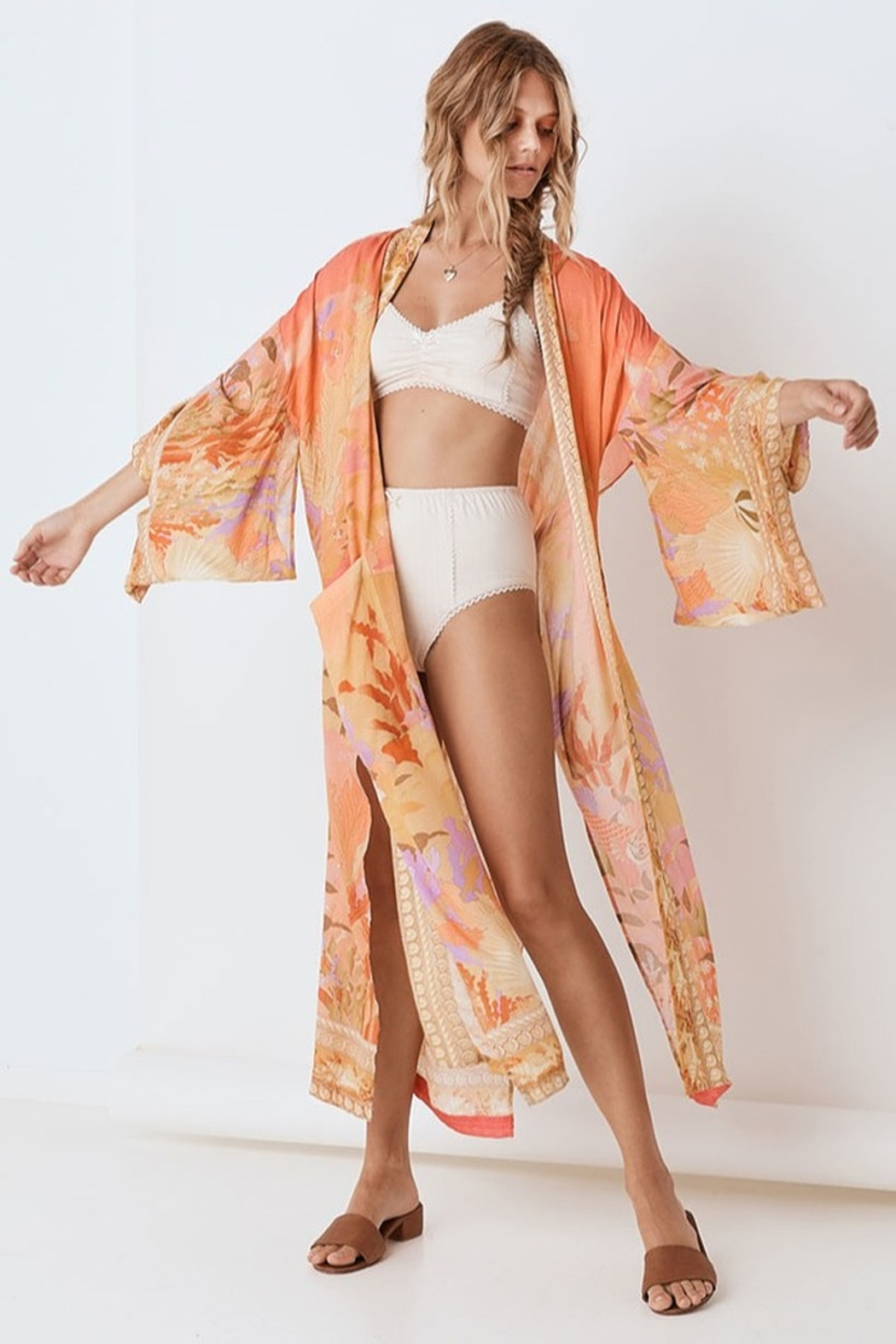 Spell & the Gypsy Collective Madison Maxi Robe - Coral - Side Cropped Image