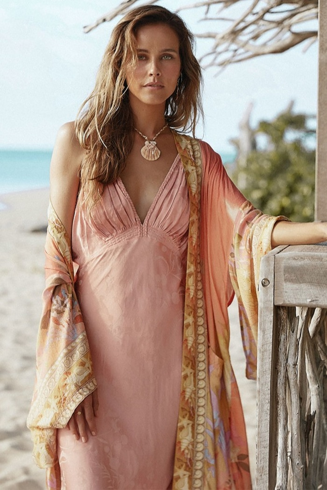 Spell & the Gypsy Collective Madison Maxi Robe - Coral - Front Full Image
