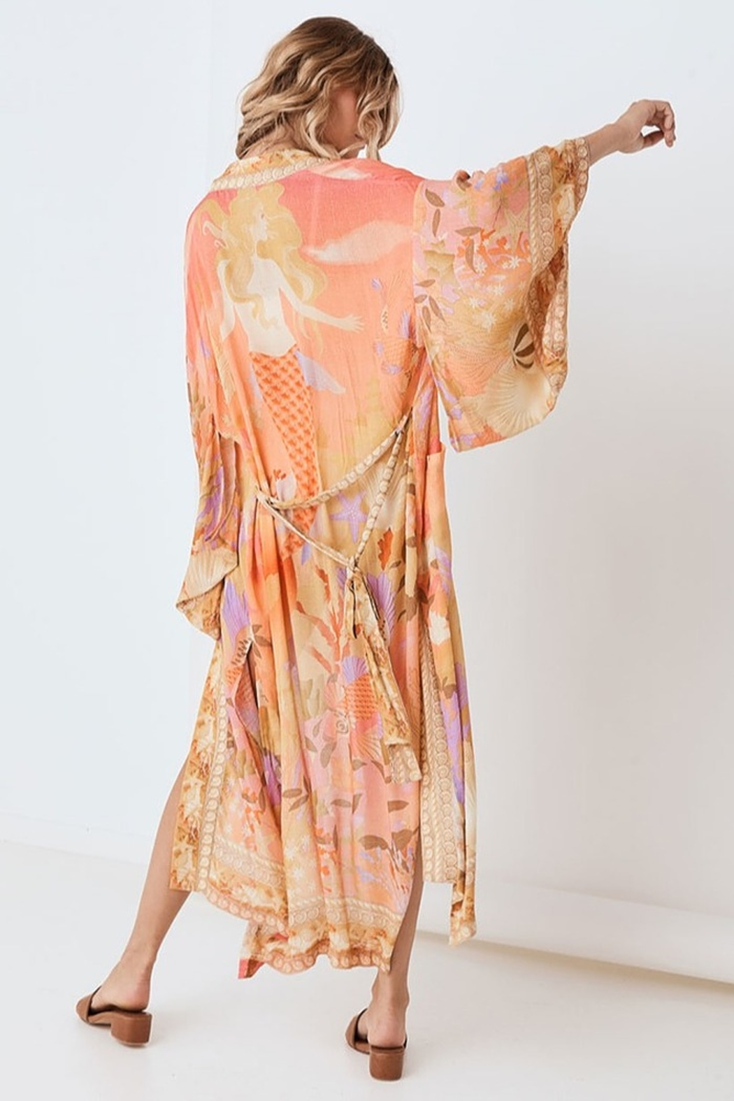 Spell & the Gypsy Collective Madison Maxi Robe - Coral - Back Cropped Image