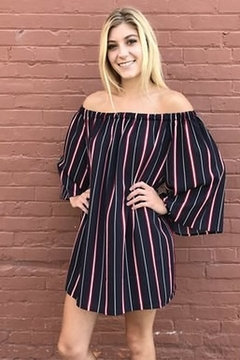 Shoptiques Product: Madison Striped Off-the-Shoulders Dress