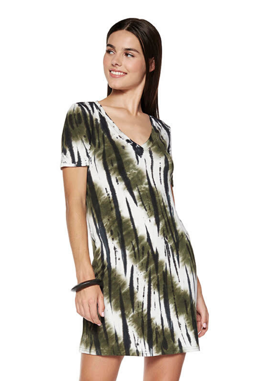 Viereck Madison tie dye v-neck s/s dress - Front Cropped Image
