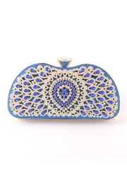 Madison Avenue Accessories Blue Stone Clutch - Front cropped