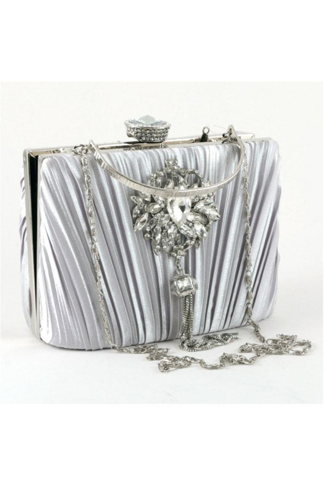 Madison Avenue Accessories Silver Royale Clutch - Front Full Image