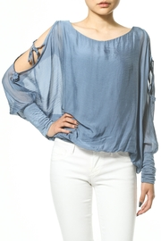 Madonna & Co Cold Shoulder Silk Top - Product Mini Image