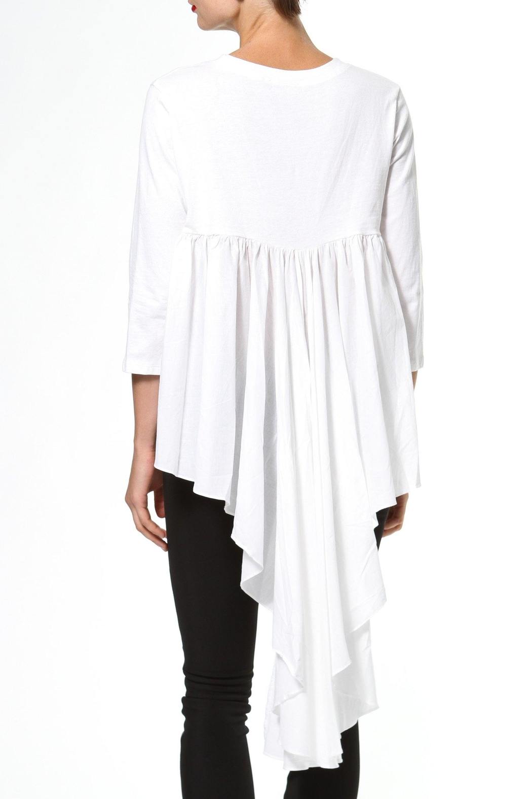 Madonna & Co Hi Lo Knit Woven Top - Side Cropped Image