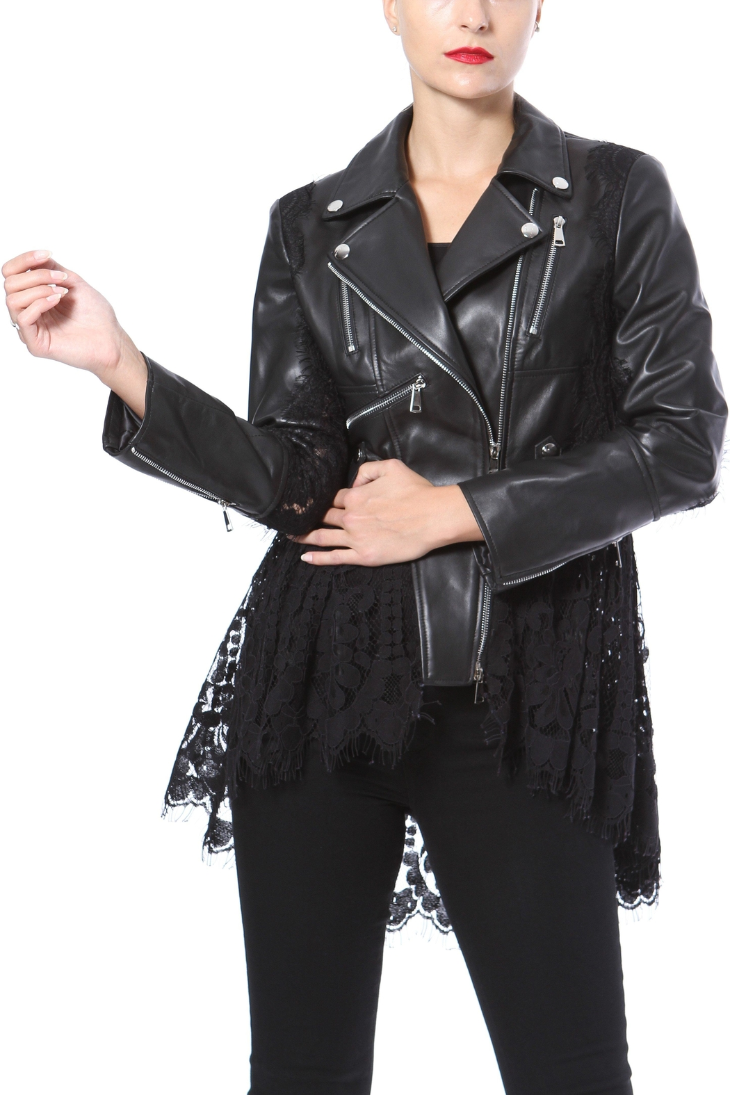Madonna & Co Lace & Leather Moto - Front Full Image