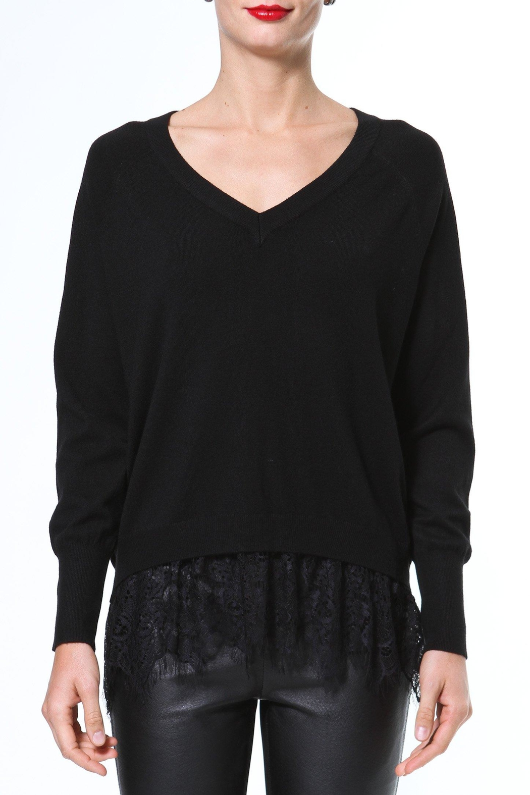 Madonna & Co Lace Trim Sweater - Front Cropped Image