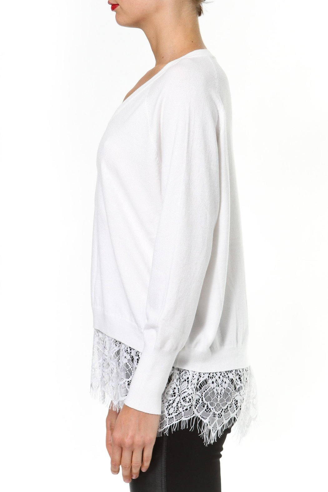 Madonna & Co Lace Trim Sweater - Front Full Image