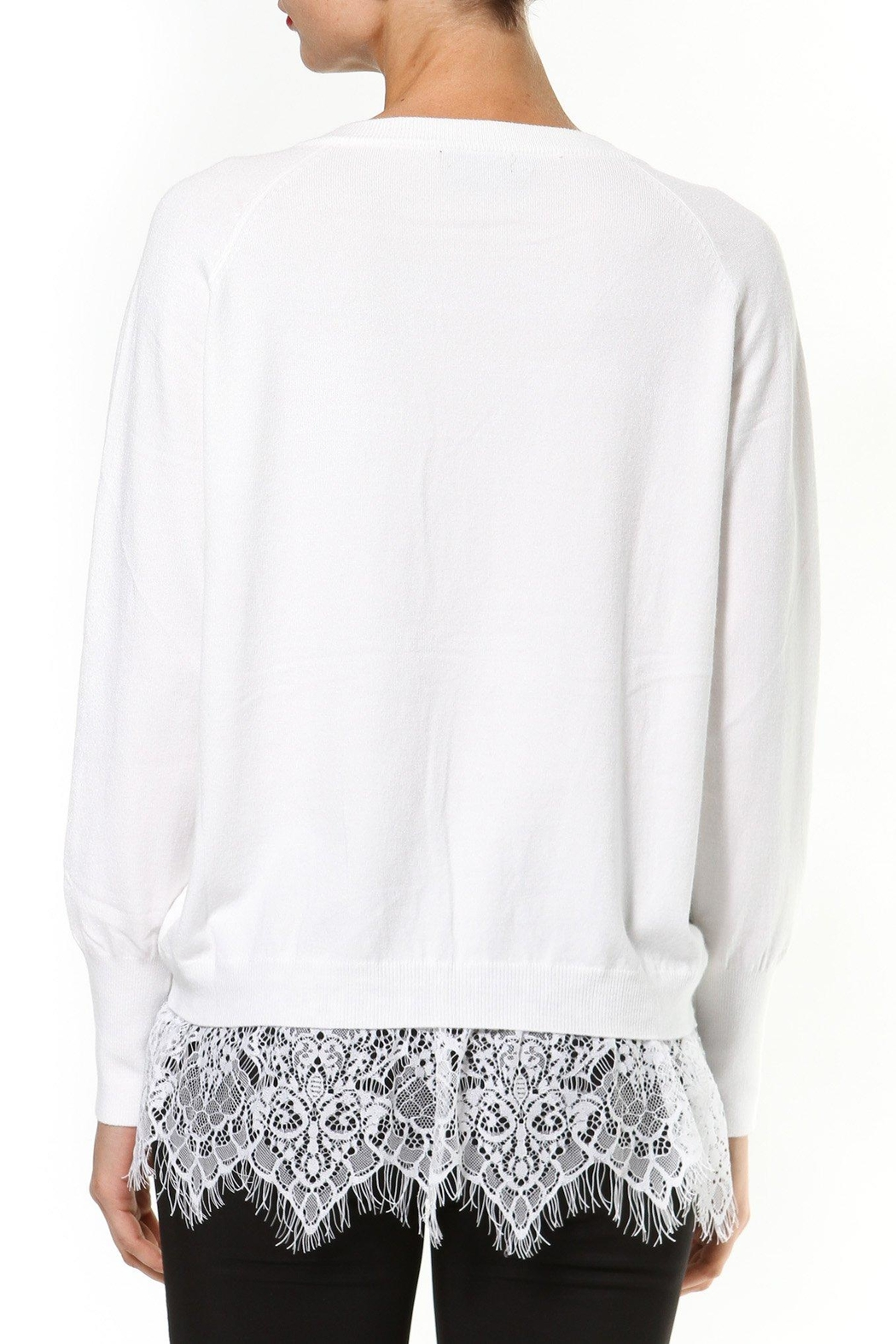 Madonna & Co Lace Trim Sweater - Side Cropped Image
