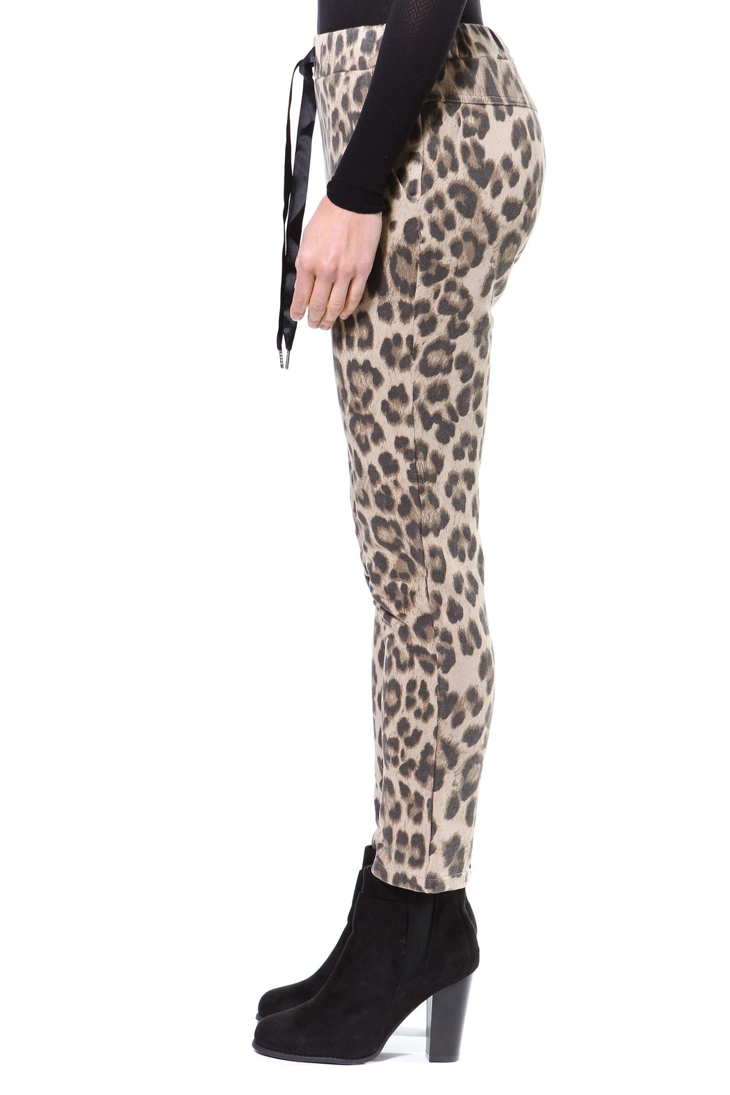 Madonna & Co Leopard Print Trackpant - Front Full Image