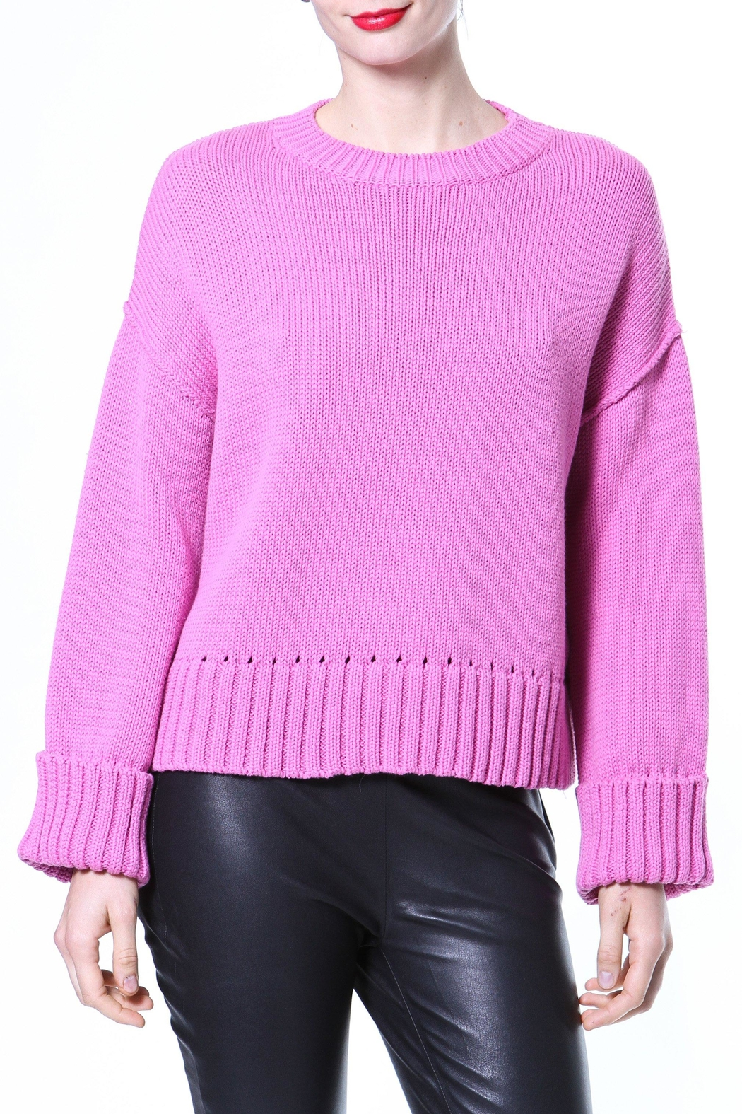 Madonna & Co Pink Ribbed Trim Sweater - Main Image