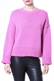 Madonna & Co Pink Ribbed Trim Sweater - Front cropped