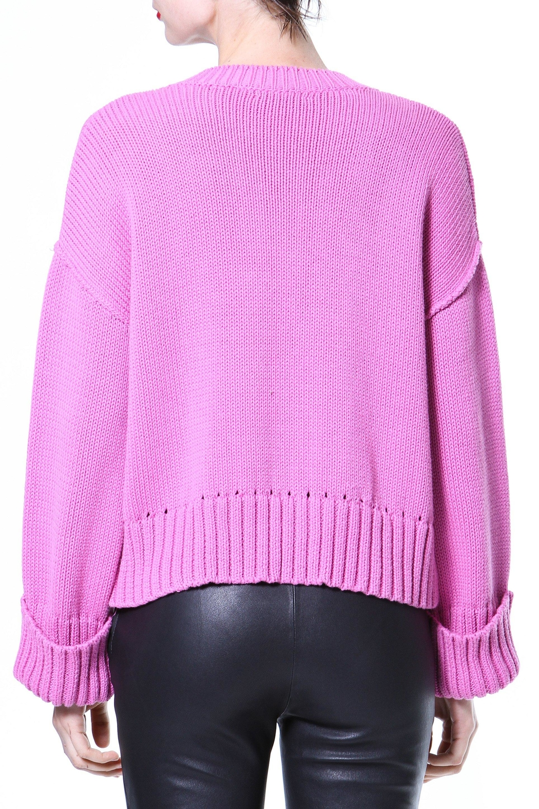Madonna & Co Pink Ribbed Trim Sweater - Front Full Image