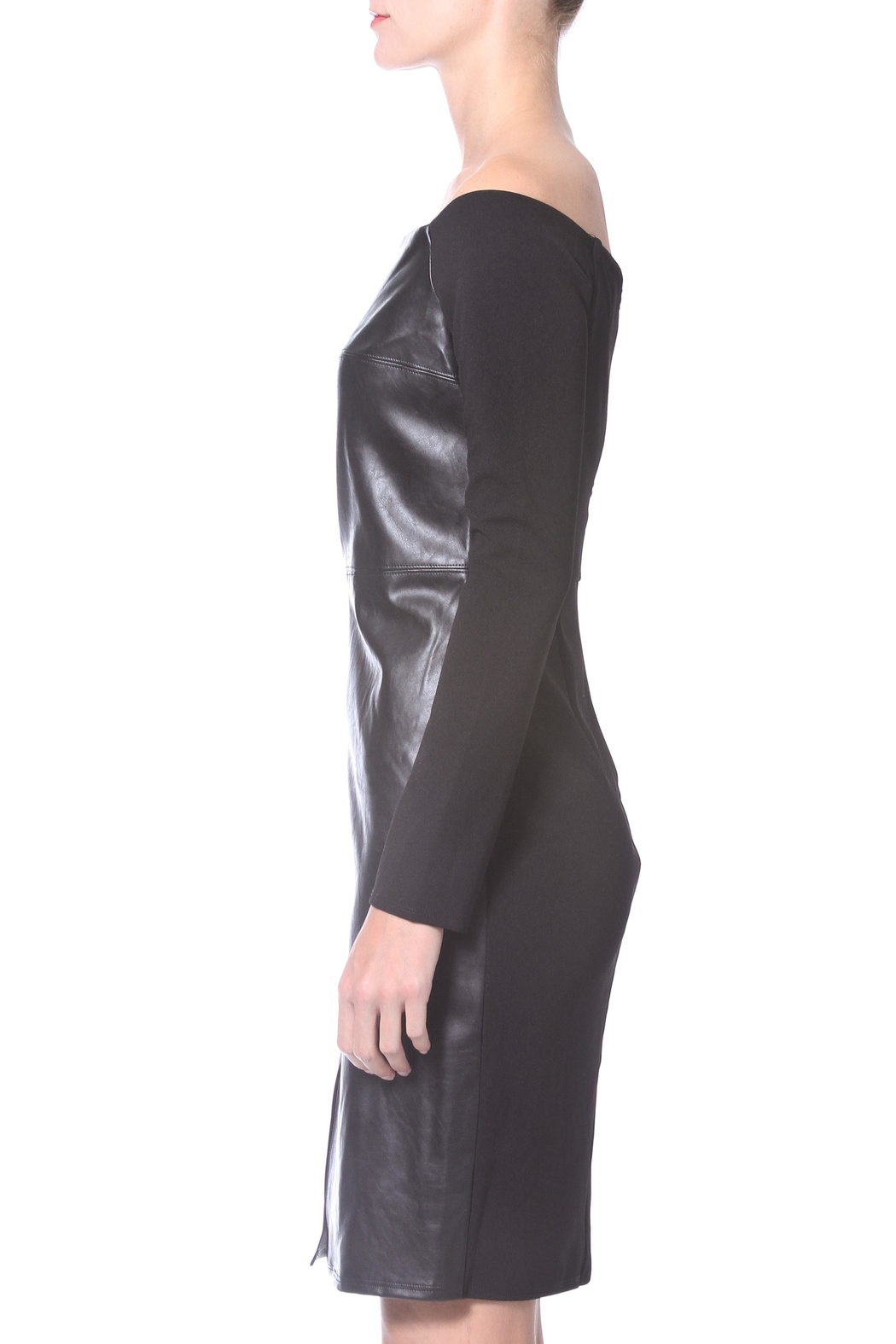 Madonna & Co Leather Knit Dress - Front Full Image