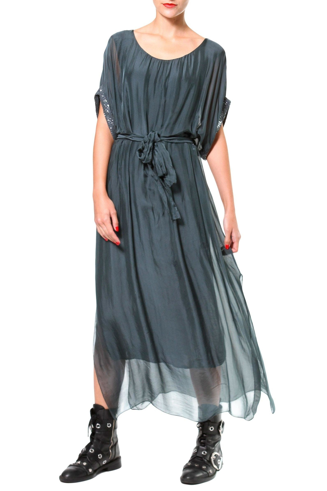 Madonna & Co Silk Maxi With Metallic Trim - Front Cropped Image