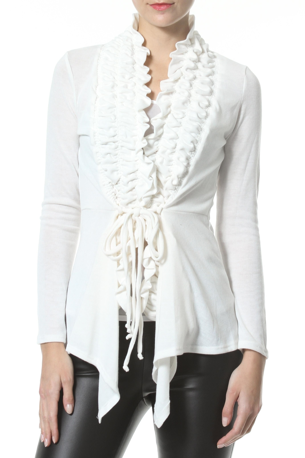 Madonna & Co Textured Trim Cardigan - Front Cropped Image