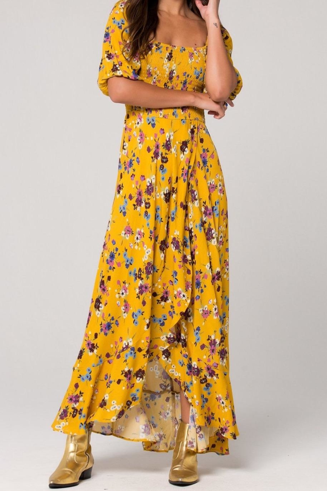 Band Of Gypsies Madrid Mustard Maxi - Side Cropped Image