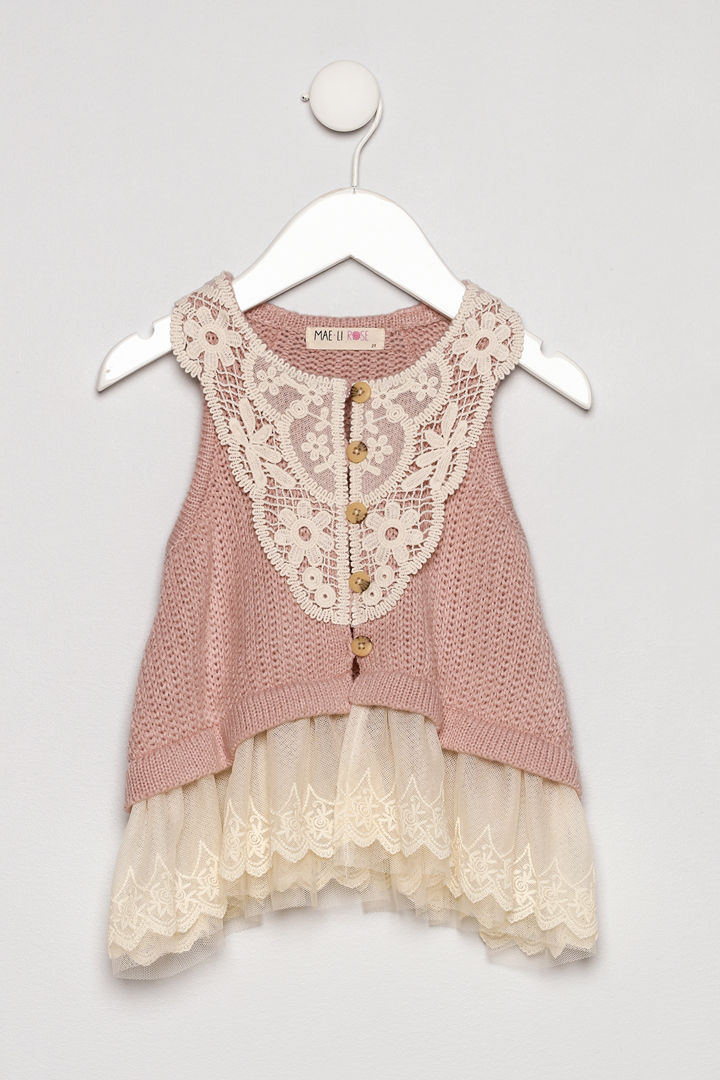 MAE LI ROSE Lace Sweater Vest - Front Cropped Image