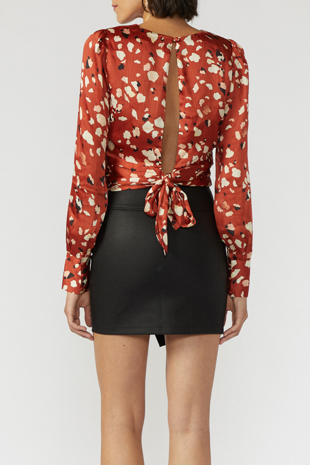 Adelyn Rae Mae Open Back Cropped Blouse - Front Full Image