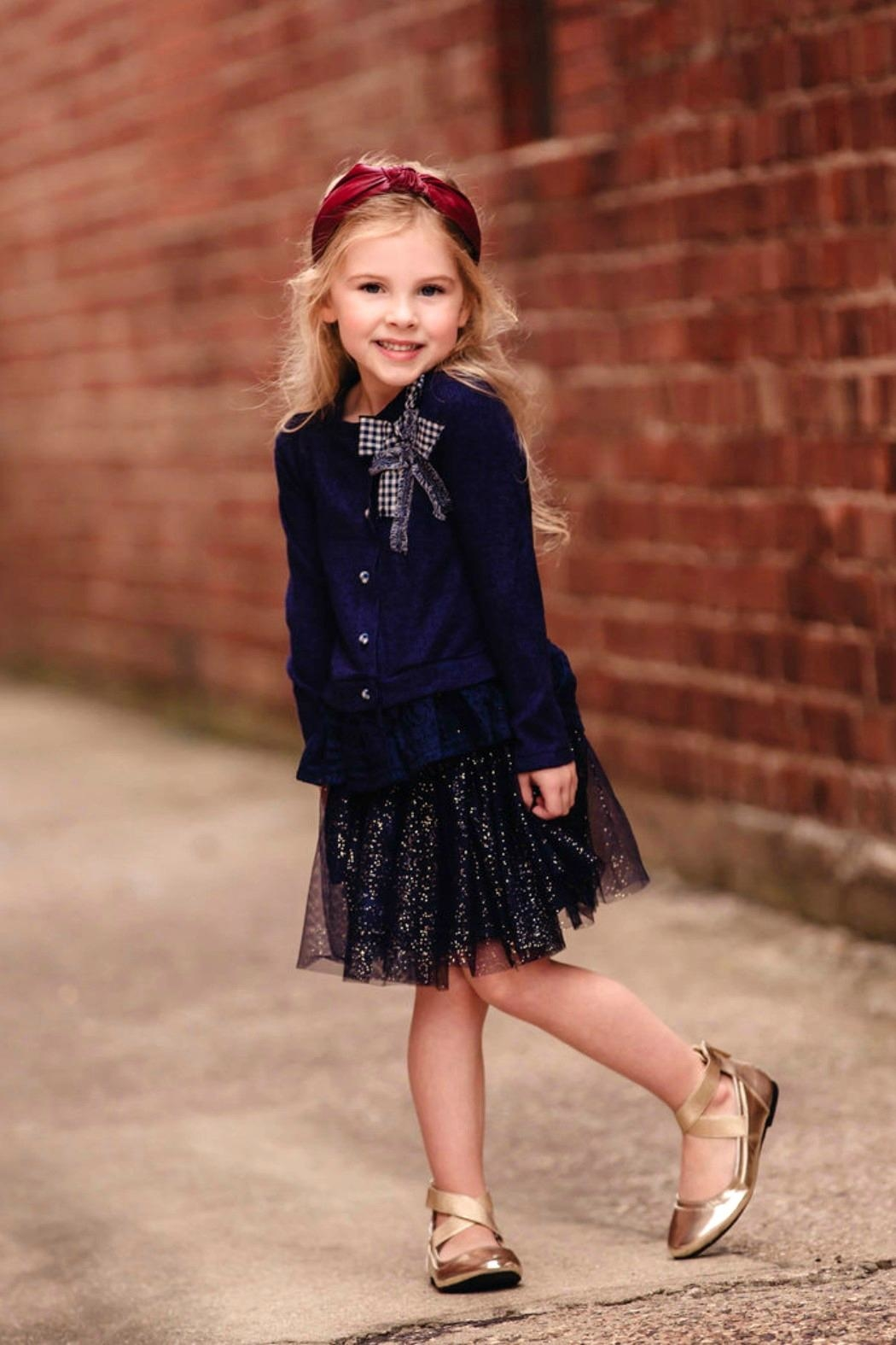 MAE LI ROSE Girls Navy-Sparkle Skirt - Front Full Image