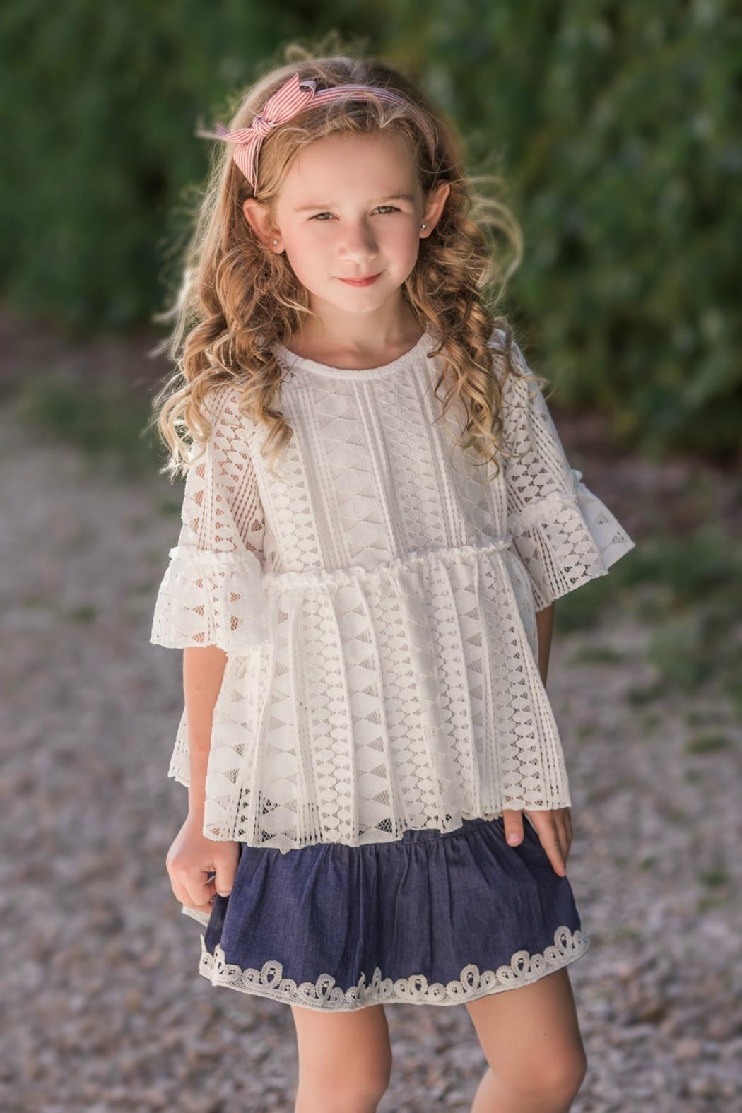 Maeli Rose White-Lace Bell-Sleeve Tunic - Front Cropped Image