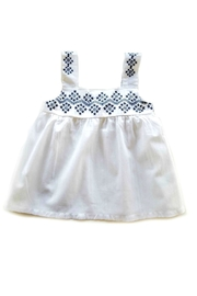 MAE LI ROSE White-Top-With-Blue-Geometric Print - Front cropped