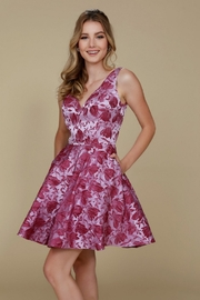 NOX A N A B E L Magenta Floral Embossed Short Formal Dress - Product Mini Image