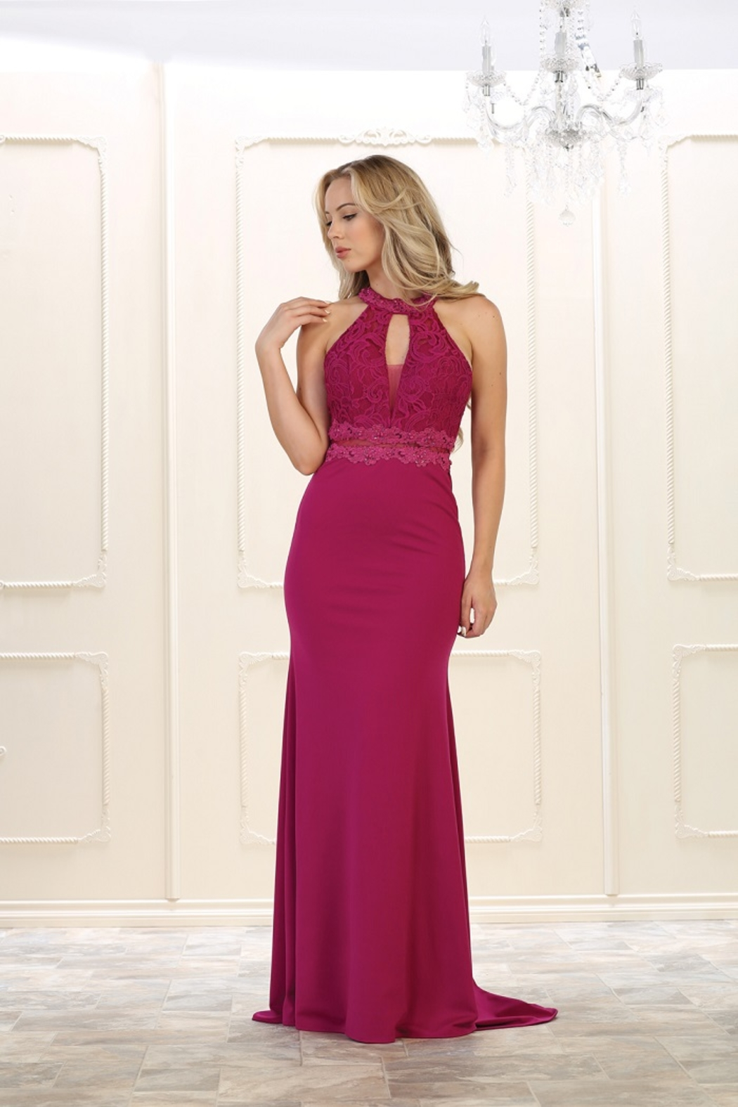 May Queen  Magenta Lace Long Dress - Main Image