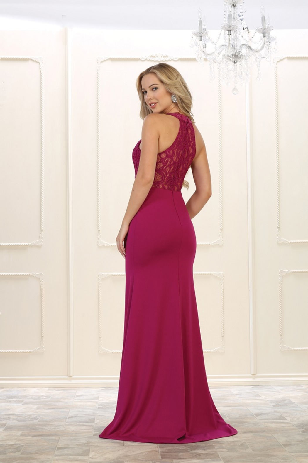 May Queen  Magenta Lace Long Dress - Front Full Image