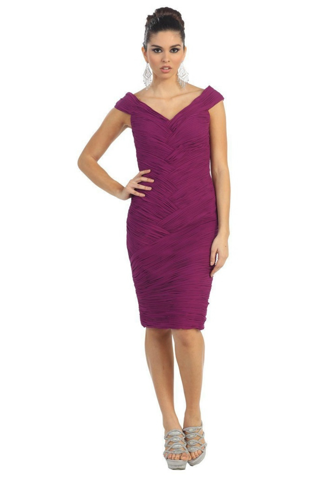 May Queen  Magenta Pleated Short Dress - Main Image