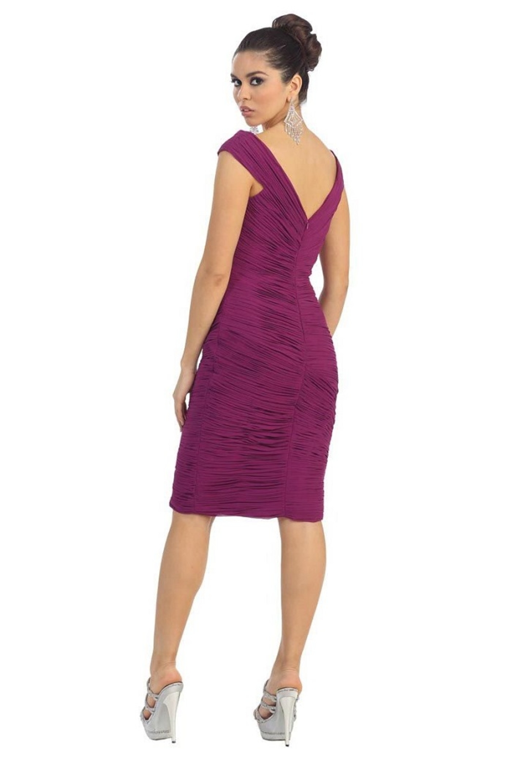 May Queen  Magenta Pleated Short Dress - Front Full Image