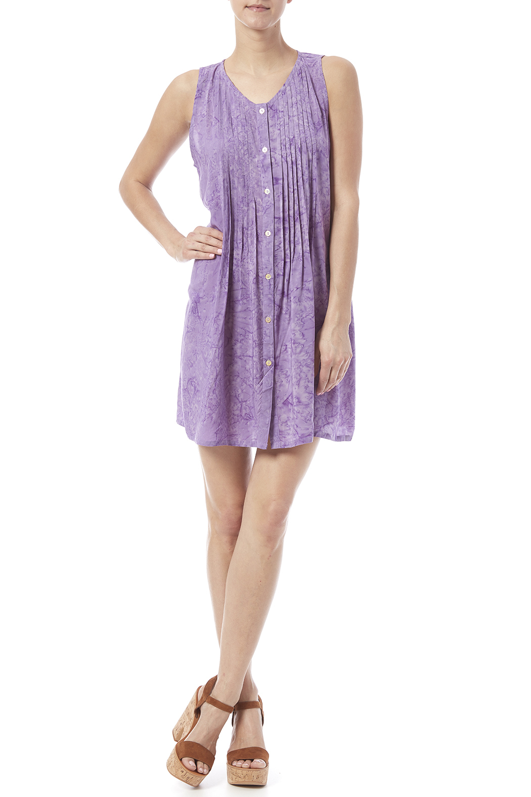 Maggie B Lavender Pintuck Tunic - Front Full Image