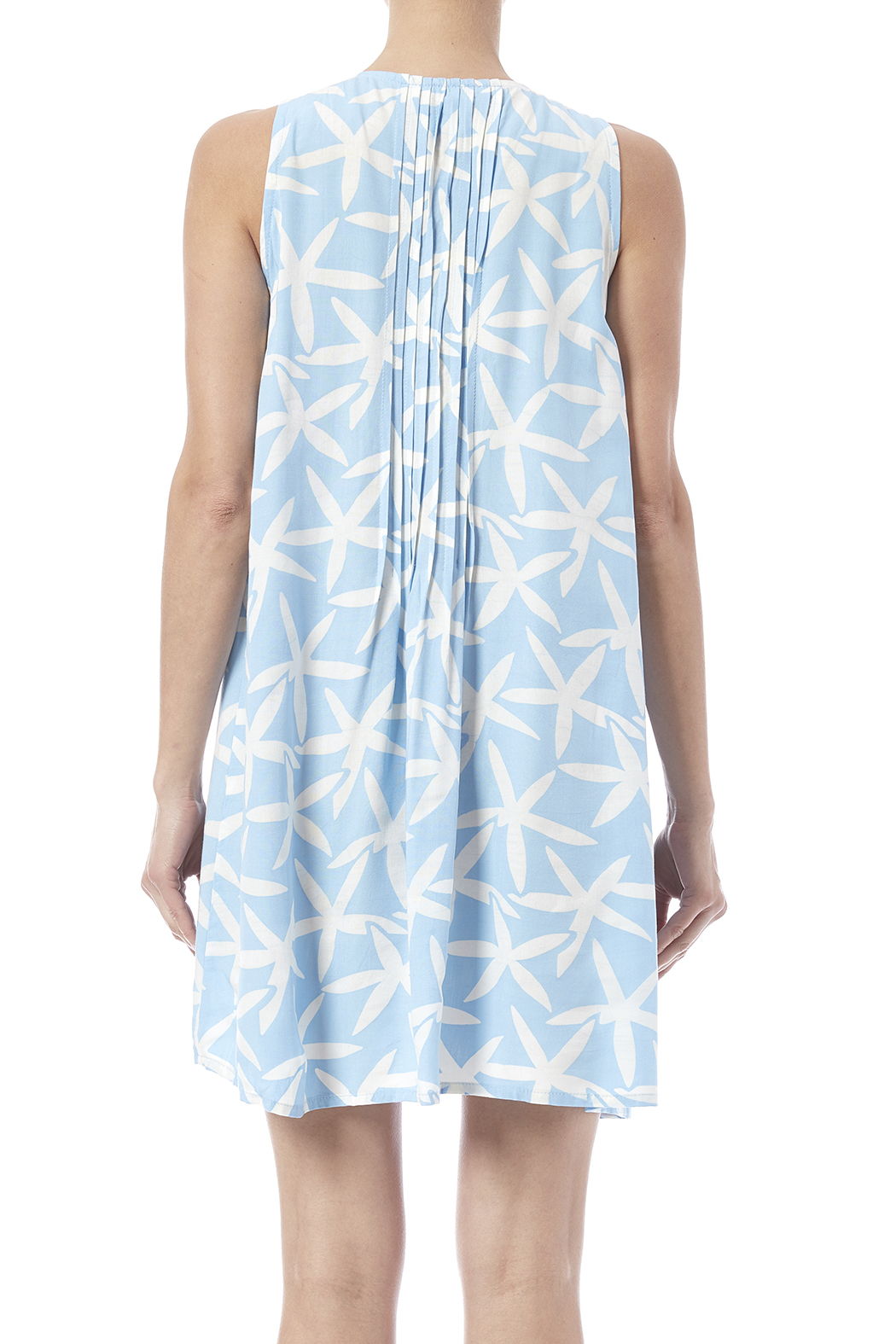 Maggie B Light Blue Pintuck Tunic - Back Cropped Image
