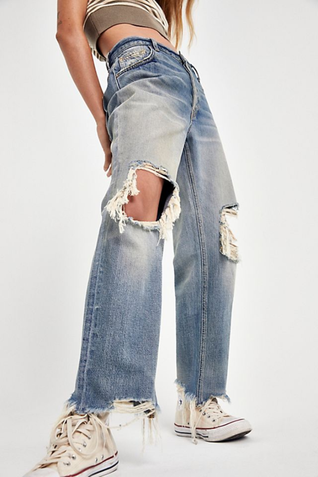 Free People Maggie Mid Rise Straight Leg Jean - Side Cropped Image