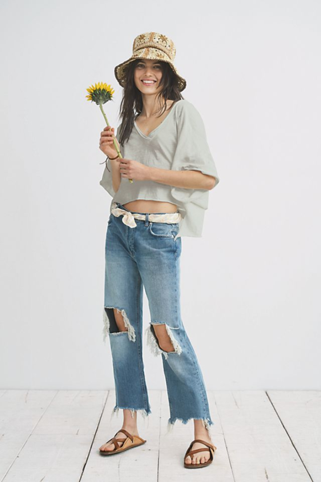 Free People Maggie Mid Rise Straight Leg Jean - Front Cropped Image