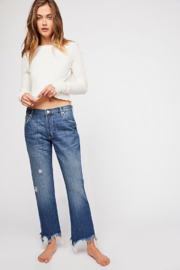 Free People Maggie Mid Rise Straight Leg Jean - Product Mini Image