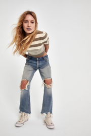 Free People Maggie Mid Rise Straight Leg Jean - Front full body