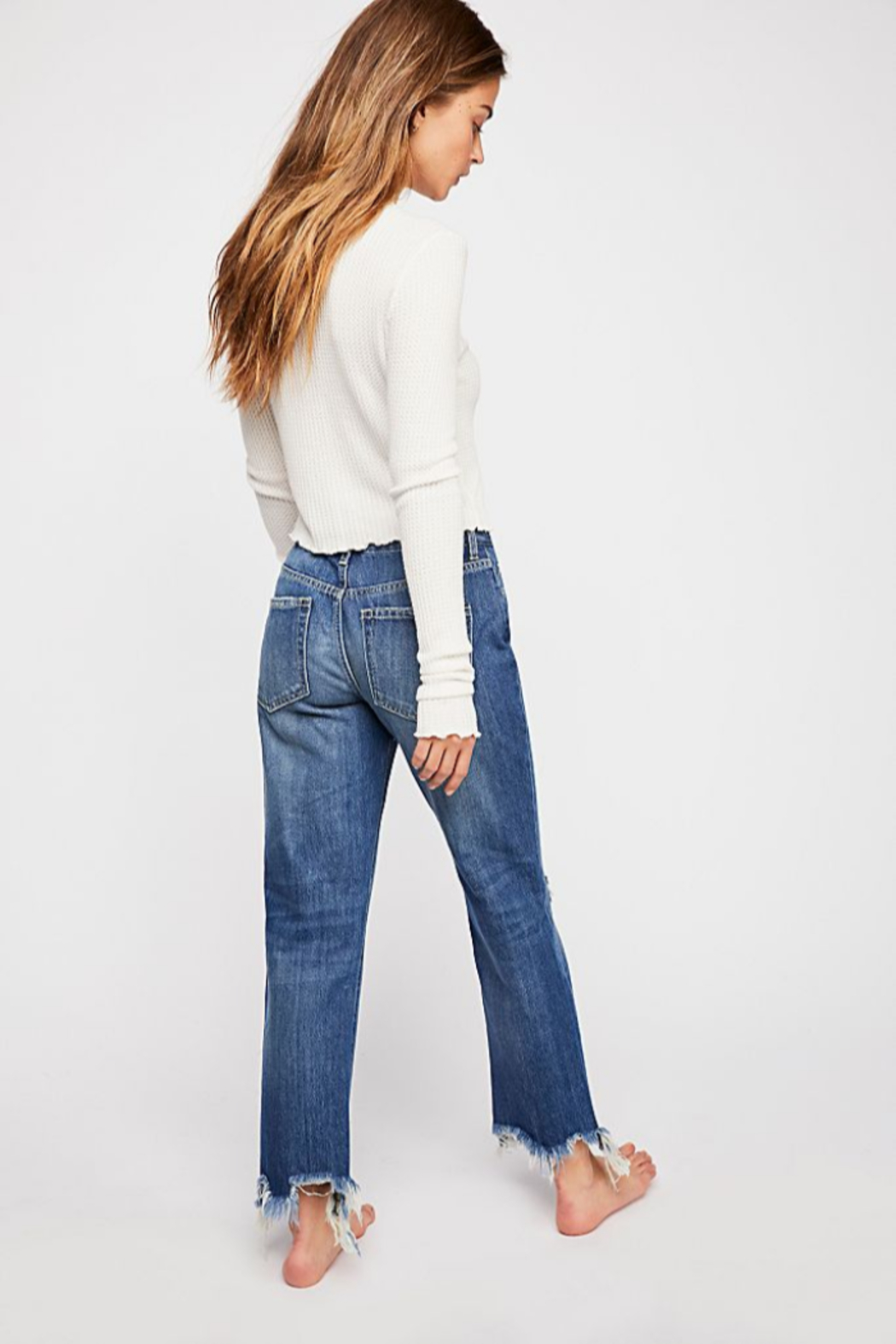 Free People Maggie Mid Rise Straight Leg Jean - Front Full Image