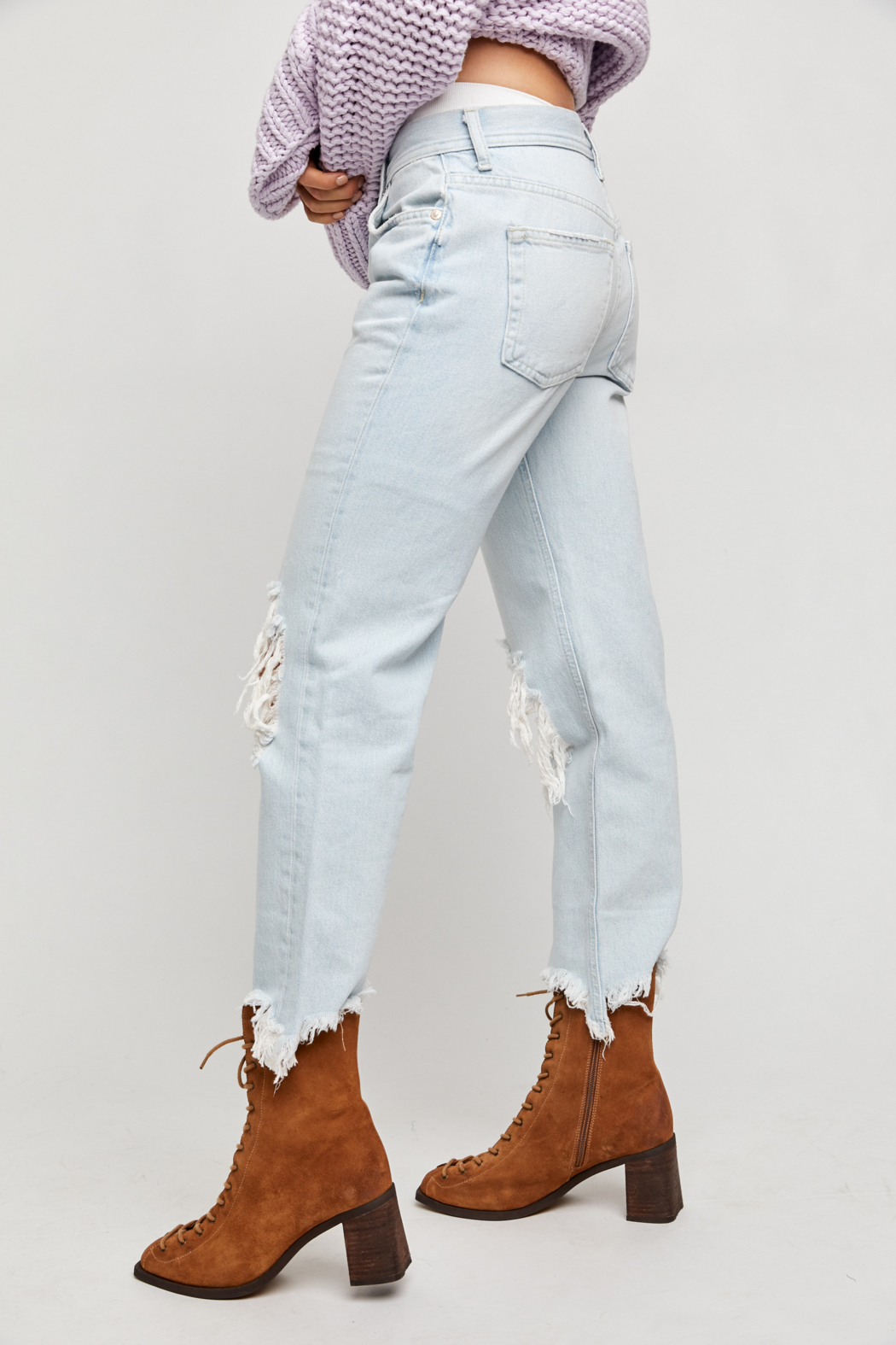 Free People  Maggie Mid-Rise Straight-Leg Jeans - Back Cropped Image