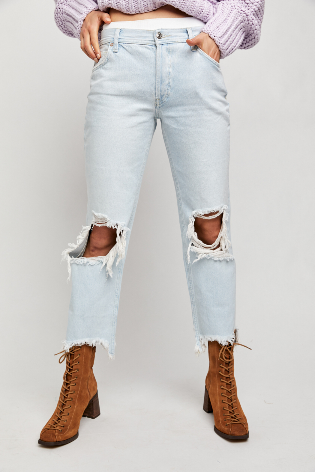Free People  Maggie Mid-Rise Straight-Leg Jeans - Side Cropped Image
