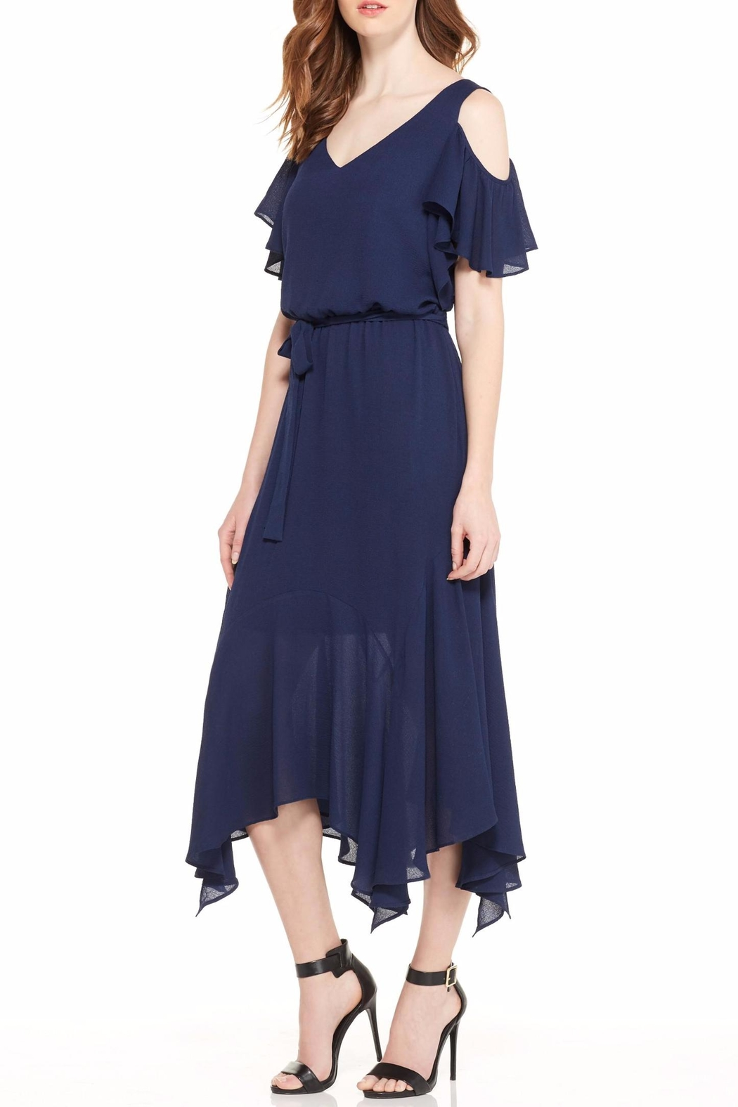 Maggy London Navy Cold Shoulder Dress - Side Cropped Image