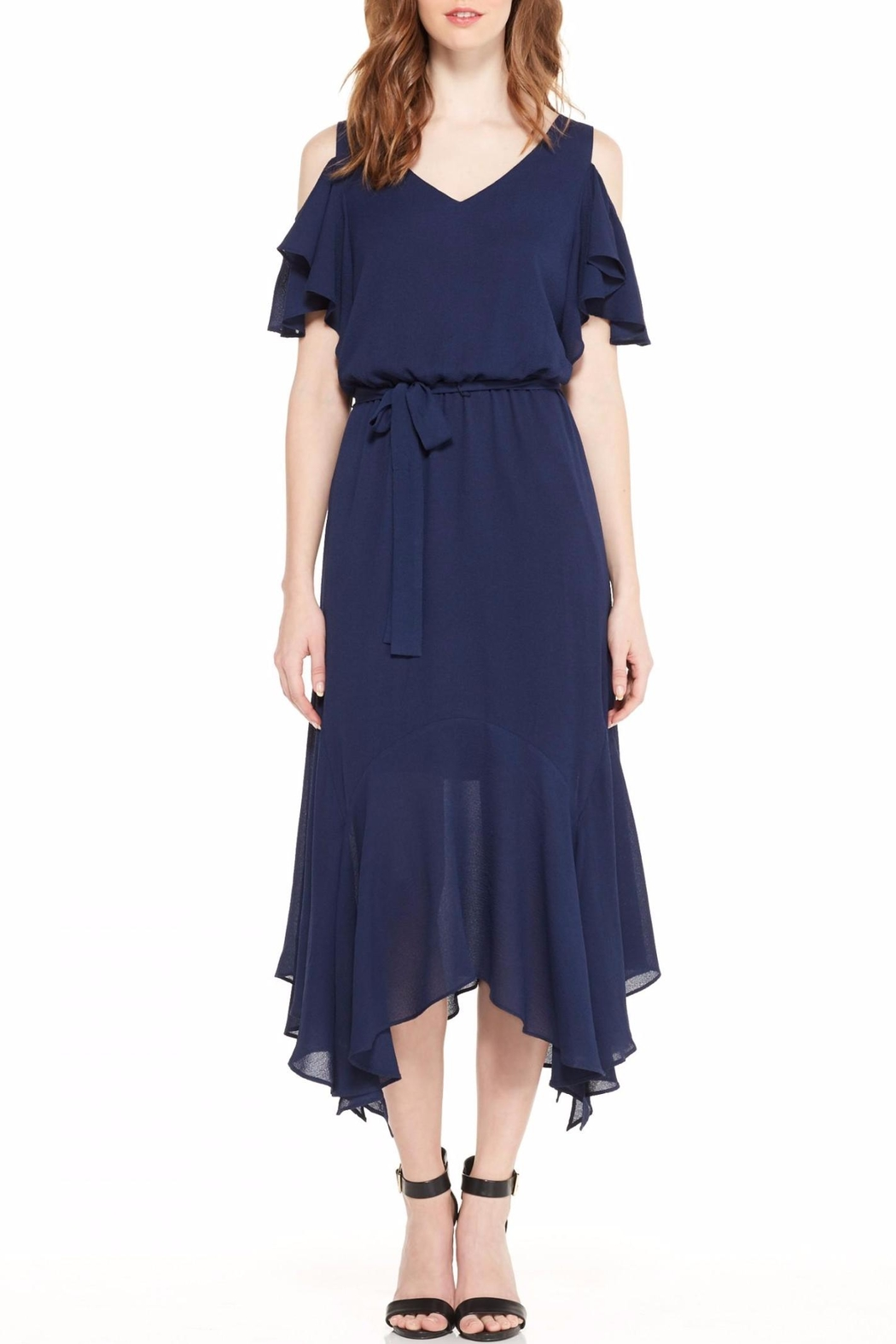 Maggy London Navy Cold Shoulder Dress - Front Cropped Image