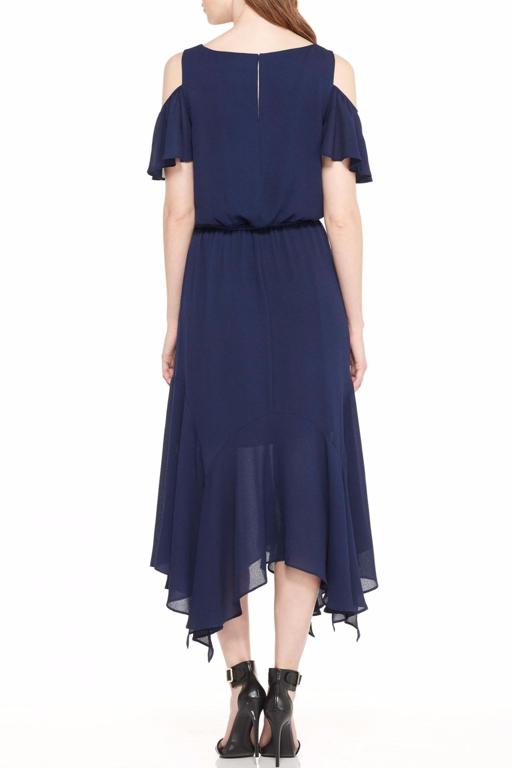 Maggy London Navy Cold Shoulder Dress - Front Full Image