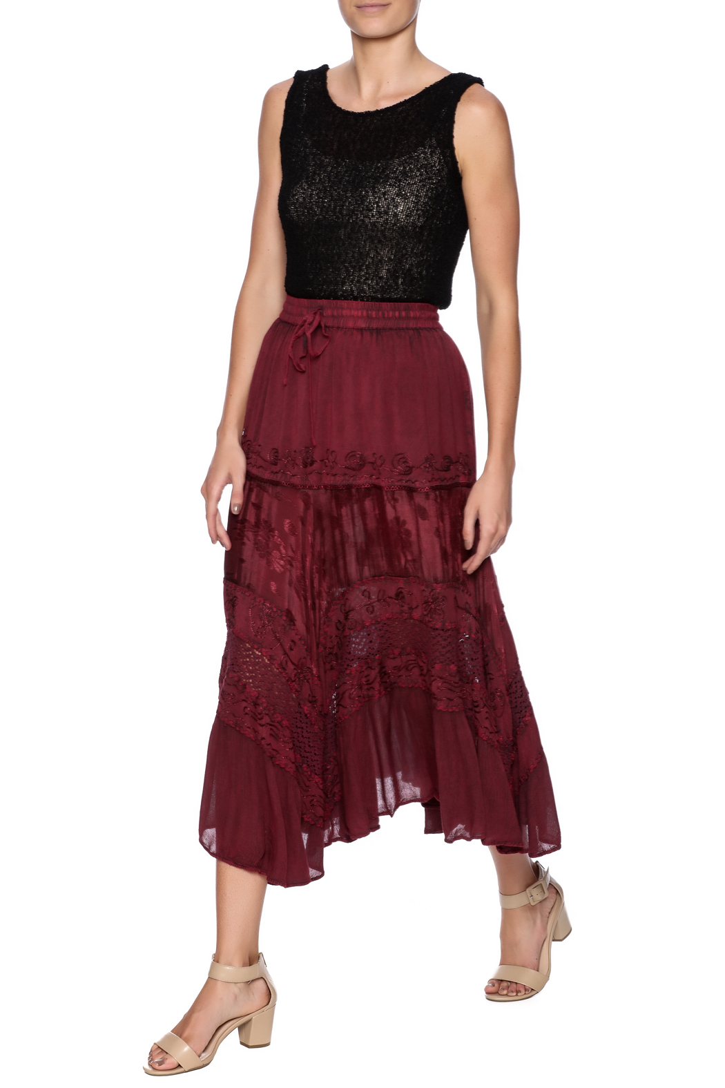 Magic Scarf Chic Linen and Lace Skirt - Front Full Image