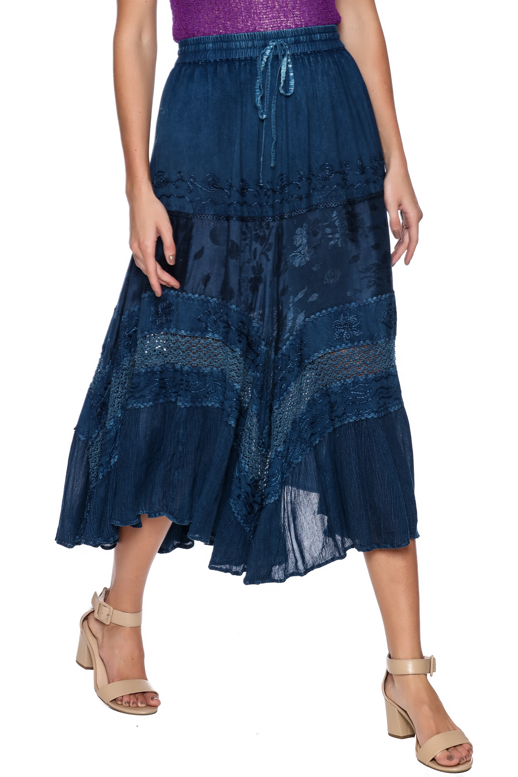 Magic Scarf Chic Linen and Lace Skirt - Front Cropped Image
