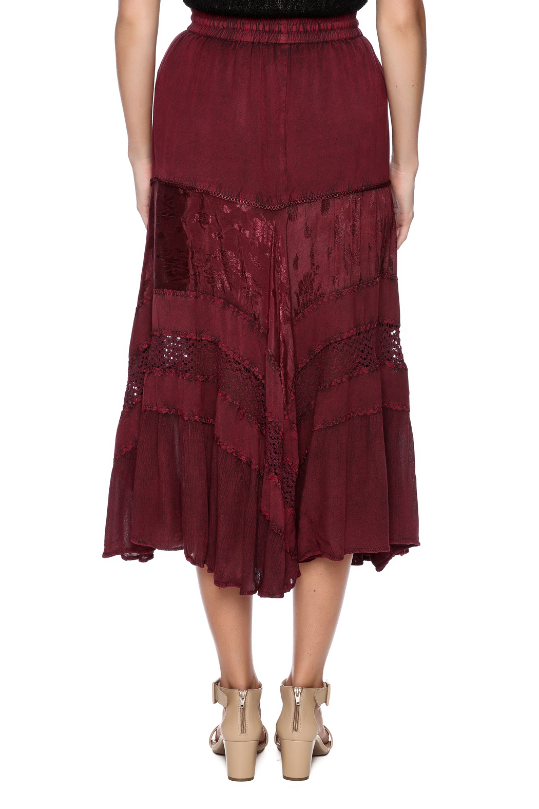 Magic Scarf Chic Linen and Lace Skirt - Back Cropped Image