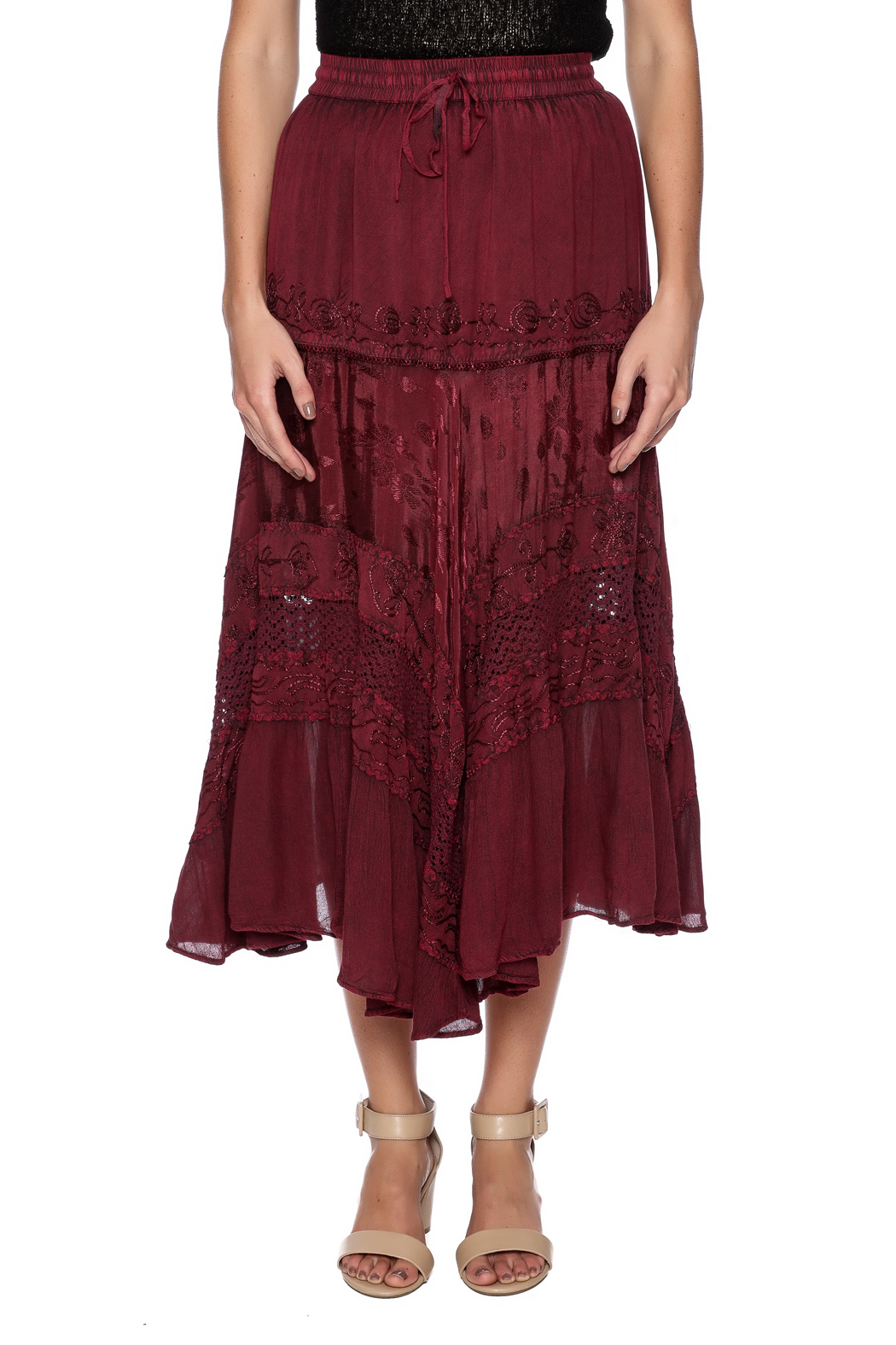 Magic Scarf Chic Linen and Lace Skirt - Side Cropped Image